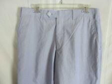 Saddlebred Blue & White Pinstriped Cotton Mens Pants Flat Front  34 x 30