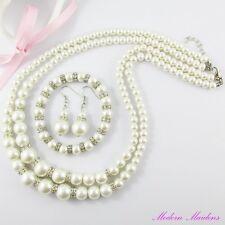 Glass Pearl & Rhinestone Double Strand Necklace, Bracelet & Earring Set