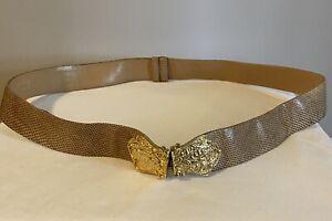 Judith Leiber Gold Snakeskin Expandable Belt, Gold Ornate Buckle, Made for Saks