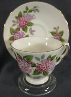 Queen Anne Purple Pink Flowers 8684 Tea Cup & Saucer Set English Bone China C973