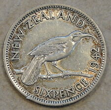 New Zealand 1942 6 Pence Mid Circulated Grade As Pictured