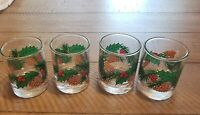 Vintage Set Of 4 Glass Votive Holders. Holly Berries And Pinecones. Unbranded