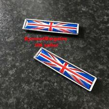 Pair union jack decal domed gel sticker labels aluminium car motorcycle van UK