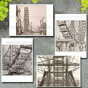 First Ferris Wheel, Chicago Columbian Exposition 1894, four 5x7 photos lot or CD