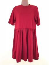 BNWT ASOS red jersey knee length cotton slouch t-shirt dress size 10 euro 38