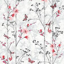 New Muriva Feature Floral Butterfly Bird Foliage Wallpaper Eden Red - 102551