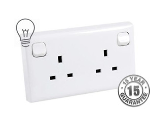Single To Twin Double 13A Slim Mains Plug Switched Socket Converter 1 To 2 Gang