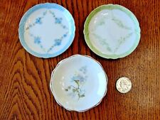 Set of 3 Antique Butter Pats, 2 French Limoges, 1 English, John Maddock & Sons
