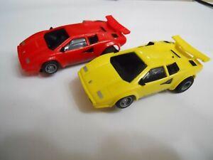 SLOT CARS SHARP PAIR OF LAMBORGHINI'S  TYCO LOT NICE!!!