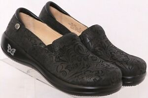 NEW Alegria Keli Leather Embossed Slip-On Clog Shoes Euro 38 Women's US 7.5