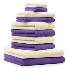 Betz Juego de 10 toallas CLASSIC 100% algodón de color morado y beige