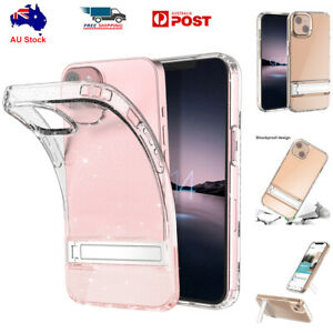 For iPhone 13 Pro Max Glitter Clear Case Shockproof Heavy Duty Metal Stand Cover