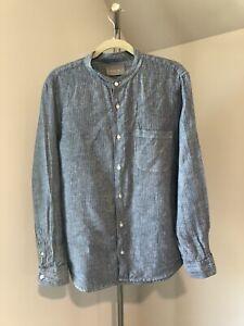 Men Everlane Blue Striped  Linen Button Down Shirts Mandarin Collar Large L