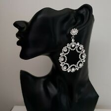 VINTAGE INSPIRED SILVER PLATED CLEAR CRYSTAL ROUND WREATH STATEMENT EARRINGS