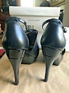 "WOW Nine West ASHLEY 12 M Black Leather Ankle Cuff Peep Toe Platform 5"" Pumps"