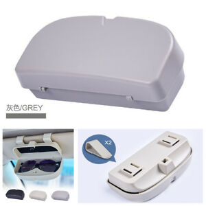 Durable Grey ABS Car Roof Sunglasses Storage Clip Case Holder Stand Glasses Box