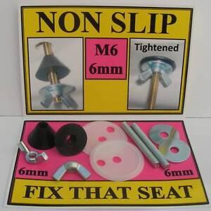 M6 (6mm) NON SLIP FITTINGS to fix LOOSE METAL TOILET SEAT HINGES.  (Repair kit)