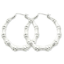 925 Sterling Silver Rhodium Plated Bamboo Hinged Hoop Earrings 3mm x 45mm