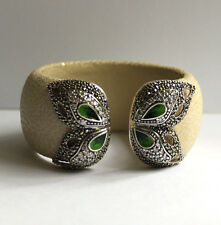 Silver & Green Agate&  Marcasite Butterfly Wing Cream Stingray Cuff Bangle NEW