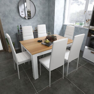 Wooden Dining Table Set Oak with 6 White Faux Leather Chairs Kitchen Furniture