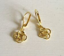 Celtic Knot Earrings Yellow Gold 24k Vermeil leverback drop earwires Pouch UK