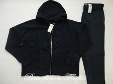 NWT Abercrombie & Fitch 2pc Lounge Set Boxy Hoodie Sweatshirt Sweatpants Navy M