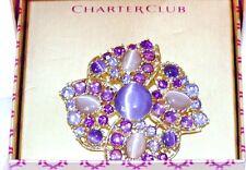 Flower Brooch Pin New in Gift Amethyst Glass Cabochon Stones Rhinestone Crystal