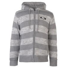 XXXL No Fear Knitted Hoodie in Grey/Cream RRP £89.99