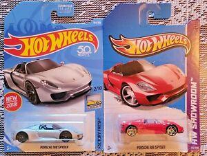Hot Wheels Porsche Porsche 918 Spyder Factory Fresh & HW Showroom - Lot of 2