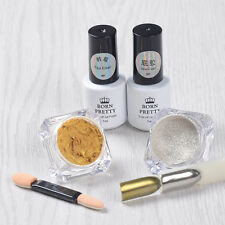 5pcs Nail Art Chrome Mirror Glitter Dust Powder W/5ml Base Top Coat Gel Polish