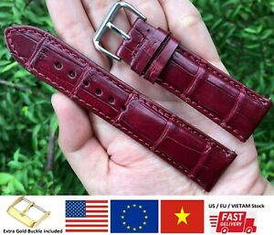 20mm / 18mm Genuine Alligator Crocodile Leather Watch Strap Band Wrist Bordeaux