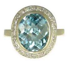 Topaz 9 Carat Oval Yellow Gold Fine Gemstone Rings
