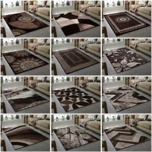 Chocolate Brown Cream Modern Quality Rug Small Large Geometric Living Room Rugs