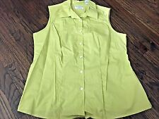 Women's Plus NWT Yellow Green Button Up Collared Tank with Stretch, Size 16W