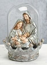 "Holy Family "" Vintage-Look"" Silver  Bust in Glass Dome"