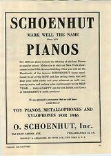 1946 PAPER AD Schoenhut Toy Piano Metallophones Xylophones