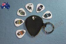 Guitar Pick Holder Keychain Design Plectrum Bag Pick Case + 6 Picks NEW