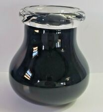 Vintage Art Glass Vase Black and Clear Murano Style Handcrafted Thick Glass Vase
