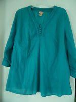 Women North Crest  Green Boho  Peasant Top Shirt Sz 2X