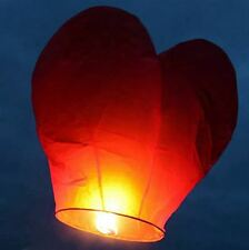 5 Red Heart Chinese Sky Lanterns Wedding Anniversary Valentine Party Celebration