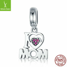 For Christmas Gifts 925 Sterling Silver I Love Mom Letter Hanging Charms beads