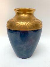 """Antique Art Nouveau Gold Gilt Etched Blue Lusterware Vase Signed Powitzky 6"""""""