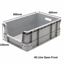 45 Litre Strong Grey Open Front Plastic Parts Storage Container Boxes Box Bins