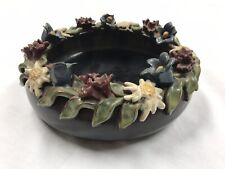 Vintage AUSTIRA LIEZEN Rose Petal Floral Trimmed Art Pottery Bowl