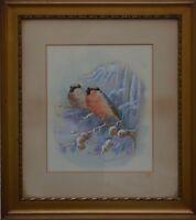 Maude SCRIVENER  Listed Artist Bullfinches Birds Watercolour  Signed