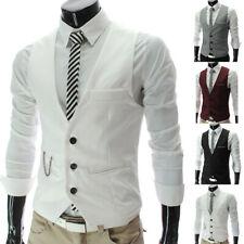 IG_ Men Waistcoat Formal Business Suit Retro Vest Slim Wedding Casual Coat Top S