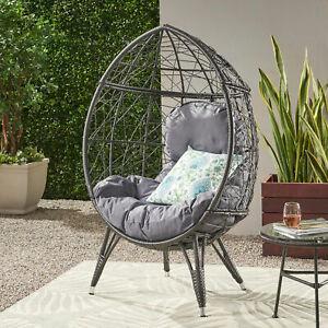 Maylee Outdoor Gray Wicker Freestanding Teardrop / Egg Chair
