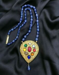 New Unused Navratna Pendant set in 22k Gold with Blue Sapphire String
