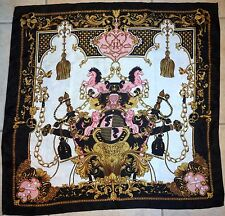 Beautiful Silk? Scarf Crest with Black Pink & Gold, Horses & Lions FREE SHIPPING