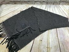 "Saks Fifth Avenue Vintage 100% Wool Black Gray Scarf 60"" GUC"